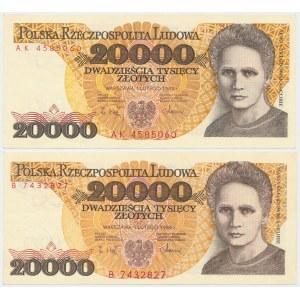 20.000 złotych 1989 - B i AK (2szt)