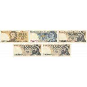 Zestaw banknotów PRL 500 - 2.000 zł (5szt)