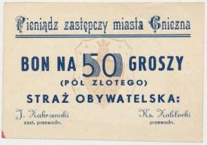 Gniezno, Straż Obywatelska, bon na 50 groszy (1939)