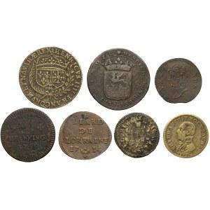 Liczmany, żetony, monety mix (7szt)