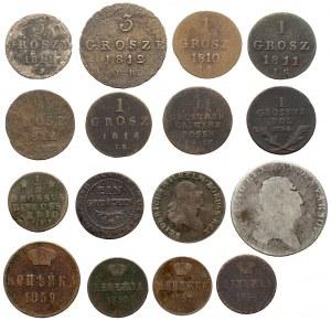 Zabory, zbiór monet srebrnych i miedzianych - zestaw (16szt)