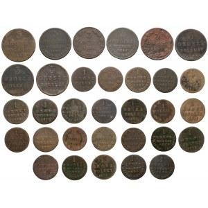 Zabór rosyjski, zbiór monet miedzianych - zestaw (32szt)