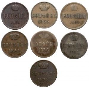 Kolekcja, 1 kopiejka 1855-1863, Warszawa - zestaw (7szt)