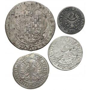 Śląsk, 1, 3 i 24 krajcary 1622-1670, zestaw (4szt)