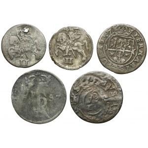 Zygmunta II - Jan Kazimierz, od dwudenara do trzeciaka 1570-1657 (5szt)