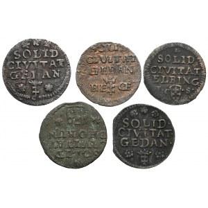Szelągi miejskie Augusta III - zestaw (5szt)