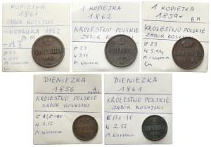 XIX w. - kopiejki i dienieżki - Warszawa (5szt)