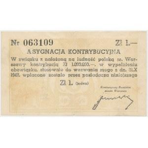 Asygnacja Kontrybucyjna 1 złoty 1942