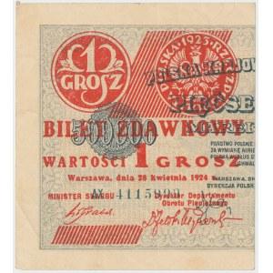 1 grosz 1924 - AX - lewa połowa
