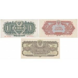 1, 2 i 5 złotych 1944 ...owym (3szt)