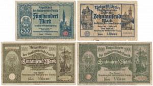 Gdańsk, 500 - 10.000 marek 1922-1923 (4szt)
