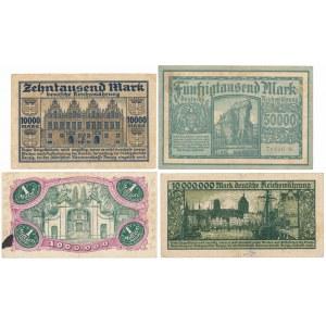 Gdańsk, 10.000 - 10 mln marek 1923 (4szt)