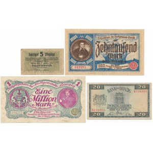 Gdańsk, zestaw banknotów z lat 1923-1937 (4szt)