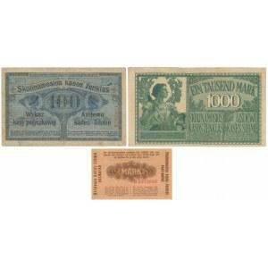 Poznań, 100 rubli 1916 i Kowno, 1/2 i 1.000 marek 1918 (3szt)
