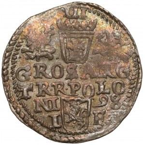 Zygmunt III Waza, Trojak Olkusz 1598 - duża głowa - bez R