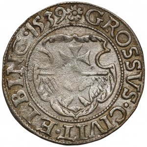Zygmunt I Stary, Grosz Elbląg 1539 - miecz w prawo