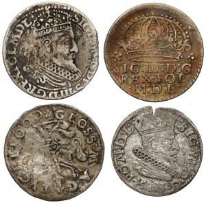 Grosze Zygmunta III Wazy - Kraków i Wilno 1604-1625 (4szt)