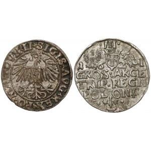 Zygmunt II i III, Półgrosz 1549 i Trojak 1621, zestaw (2szt)
