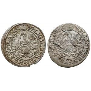 Śląsk, Chrystian wołowski, 3 krajcary 1669 i 1670 CB, Brzeg (2szt)