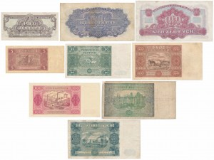 Zestaw banknotów polskich z lat 1944-1948 (9szt)