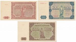 100, 500 i 1.000 złotych 1947 (3szt)
