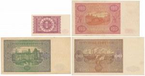 1, 100 - 1.000 złotych 1946 (4szt)