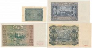 Zestaw banknotów 1 - 500 złotych 1940-1941 (4szt)