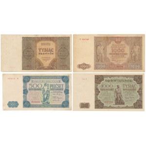 500 - 1.000 zł 1945-1947 (4szt)