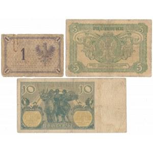 Zestaw rzadszych banknotów polskich z lat 1919-1926 (3szt)