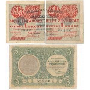 1 grosz 1924 lewa i prawa połowa i 5 zł 1925 (3szt)