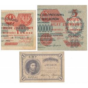 1 i 5 groszy 1924 i 1 zł 1919 (3szt)