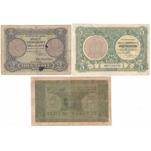 2 i 5 zł 1925 i 5 zł 1926 - zestaw (3szt)