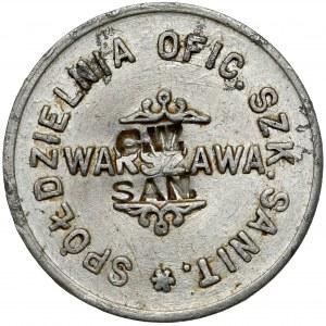 Warszawa, Oficerska Szkoła Sanitarna, 1 złoty - kontrmarkowana C.W. SAN.
