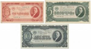 Russia, 3, 5 & 10 Chervontsev 1937 - SET of 3 pcs