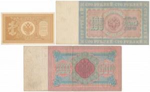 Rosja, 1, 100 i 500 rubli 1898 (3szt)