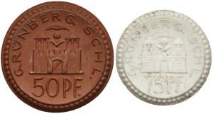Grünberg (Zielona Góra), 50 i 75 fenigów 1921-22 - porcelana (2szt)