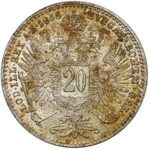 Austria, Franciszek Józef I, 20 krajcarów 1868
