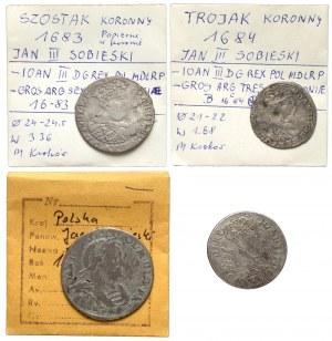 Jan III Sobieski, Ort, szóstaki i trojak 1678-85 - rzadkie - (4szt)