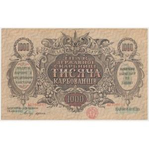 Ukraine, 1.000 Karbovanets (1920) - AI - zigzag lines of varnish printed on paper