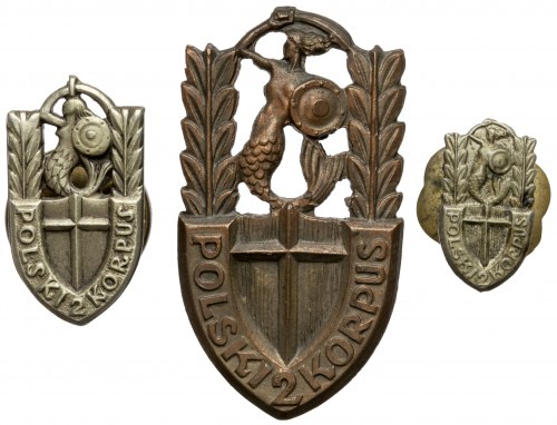 PSZnZ, Odznaka i miniaturki 2. Korpus Polski (3szt)