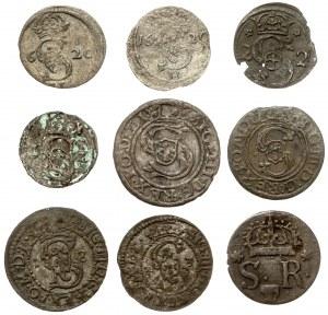 Zygmunt III Waza, Szelągi, trzeciaki i dwudenary 1600-1624, zestaw (9szt)