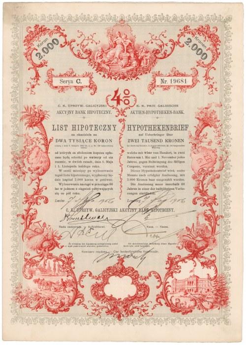 Lwów, Akc. Bank Hipoteczny, List hipoteczny 2.000 kr 1906