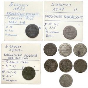 Zabór rosyjski, 5 groszy 1816-1840, zestaw (10szt)