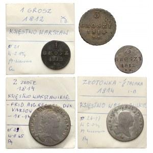 Księstwo warszawskie, od grosza do 1/3 talara, zestaw (5szt)