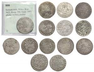 Szóstaki Jana II Kazimierza, w tym rzadkie - zestaw (14szt)