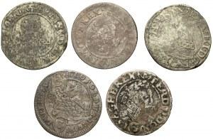 Austria, Ferdynand II i Leopold, 3 krajcary 1624-1704, zestaw (5szt)