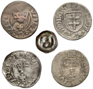 Kazimierz IV Jagiellończyk, Szelągi i brakteat, Elbląg, Toruń, Gdańsk (5szt)
