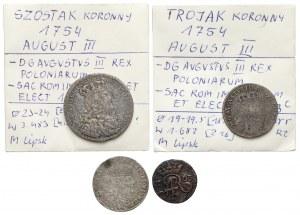 August III Sas, Szóstak, trojaki i szeląg 1754-63, rzadkie (4szt)