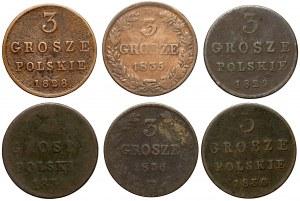 Królestwo Polskie, 3 grosze 1828-1836, zestaw (6szt)