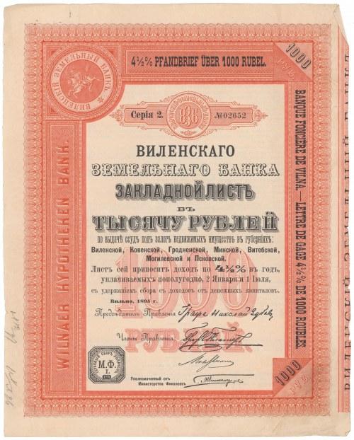 Wileński Bank Ziemski, List Zastawny, 1895